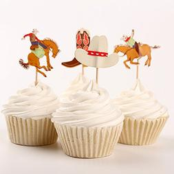 Fumee 24 Cowboy Cupcake Toppers Western Picks Cake Decoratin