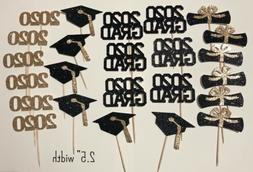 24 Cupcake Toppers Class Of 2020 Graduation Party Decor - Bl