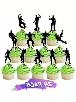 24 Dance Floss/ Gamer Cupcake toppers for Birthday Cake deco