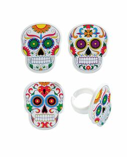 24 Day of the Dead Halloween Cupcake Rings Topper Favors