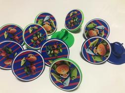 24 DINOSAUR TRAIN Rings cupcake toppers - birthday party fav