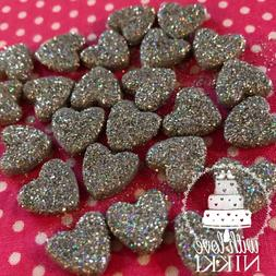 24 Edible HEARTS Glitter or Shimmer Cupcake toppers cake dec