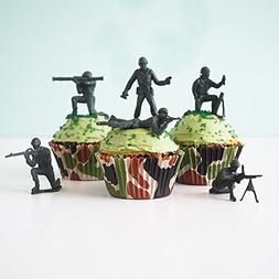 24 Green Toy Soldiers Cupcake Topper Kit - Army Soldiers, Ca
