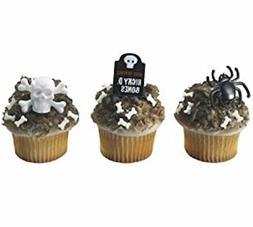24 Halloween Skull Spider Grave Marker Cupcake Rings Cake To