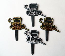 24 Happy New Year Top Hat and Cane Cupcake Picks Cake Topper