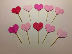 24 Hearts Toothpicks Party Food Picks Cupcake Toppers
