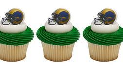 24 Los Angeles RAMS cupcake RINGS toppers LA footbal NFL par