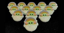 24 mandalorian baby yoda child cupcake toppers