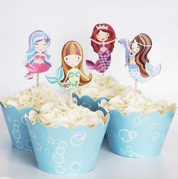 24 mermaid cupcake toppers picks wrappers