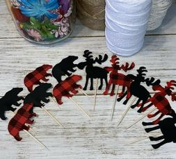 24 Moose and Bear Cupcake toppers Woodland Baby Shower Birth
