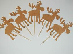 24 Moose Cupcake toppers Woodland Baby Shower Birthday Decor