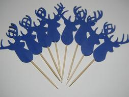 24 Navy Deer Cupcake toppers Woodland Baby Shower Birthday D