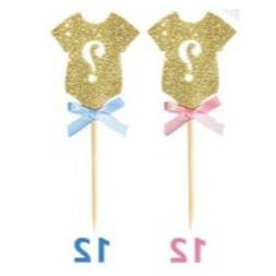 24-pack Glitter Gender Reveal Cupcake Toppers, Gender Reveal