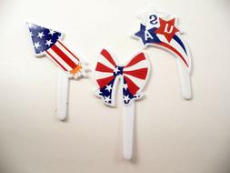 24 Patriotic Label Fourth of July Cupcake Picks Cake Toppers