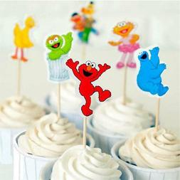 24 PC Sesame street Cupcake Theme Toppers Picks cake topper