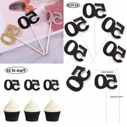 24 PCS 50Th Cupcake Toppers Anniversary Or Birthday Picks Pa