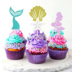 24pcs Mermaid Theme Glitter Cupcake Toppers Cake Picks for B