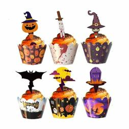 24 Pcs Halloween Cupcake Toppers Cupcake Wrappers Decoration