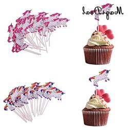 24 pcs/Lot Unicorn Cartoon Cake Cupcake Topper Food Picks fo
