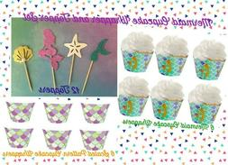 24 PCS Mermaid Party Supplies Cupcake Toppers & Wrappers Und