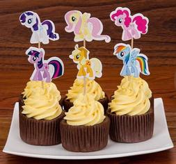 24 Pcs, My Little Pony Cupcake Toppers Kids Birthday Party S