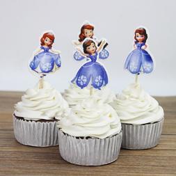 24 Pcs/pack Cartoon Little Princess Sofia Theme Party Cake D