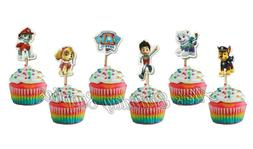 pcs Paw Patrol  Cupcake Toppers Double Sided Birthday Party