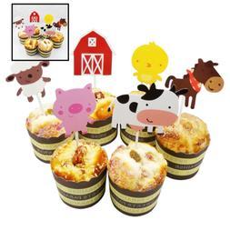 24 Pcs QUTE Farm Animal Cupcake Toppers Cake Decorating Tool