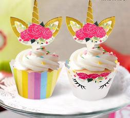 24 PCS Unicorn Cupcake Toppers and Wrappers Double Sided Rai