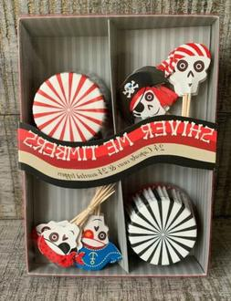 24 Pirate Cupcake Toppers & Holders Cake Decorations Birthda