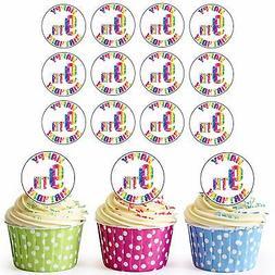 24 Pre-Cut Happy 9th Birthday Cupcake Toppers Decorations Da