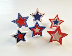 24 Printed Star Cupcake Rings Fourth of July Memorial Day To