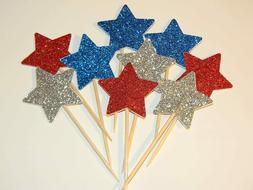 24 Red, Silver and Blue Glitter Star 4th of July cupcake top