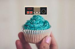 24 - Retro video Game Cupcake Cake Toppers Vintage Nintendo