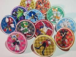 24 SONIC CHARACTER Rings cupcake toppers - birthday party fa