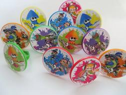 24 SPLATOON Rings cupcake toppers - birthday party favor pin