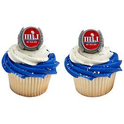 24 Decopac Superbowl 53 LIII Football Cupcake Ring Topper