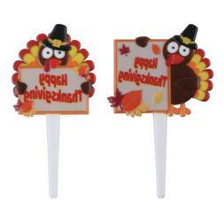 24 Turkeys with Happy Thanksgiving Sign Cupcake Picks #1 Par