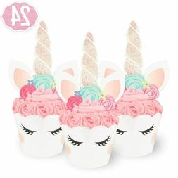 24 Unicorn Cupcake Wrappers and Toppers  ***FREE SHIPPING***