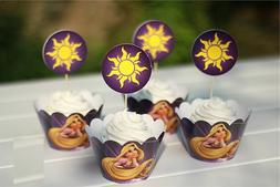 24PC Rapunzel cupcake wrapper and topper for kids birthday e