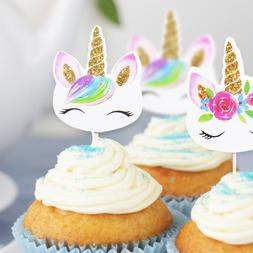 24pc Unicorn Cupcake Toppers Edible Wafer Paper Cake Topper