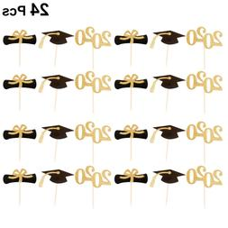 24Pcs 2020 Glitter Cupcake Toppers Decoration for Graduation