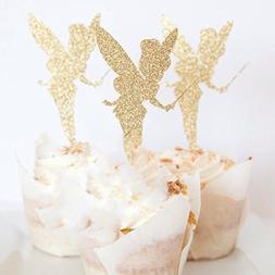 24pcs Gold Glitter Pretty Ballet Dancer Fairy Peri Cupcake T