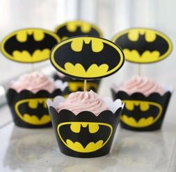 24pcs Batman Cupcake Wrappers And Toppers Birthday Party Dec