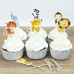 24Pcs Farm Animal Cartoon Cake Cupcake Topper Baby Shower Bi