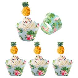 24pcs flamingo pineapple cupcake wrappers cake topper