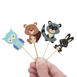 24pcs Woodland Animal Cupcake Toppers Forest Birthday Party