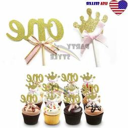 24pcs Gold Glitter Cupcake Toppers Pink Bow For Girl Baby 1s