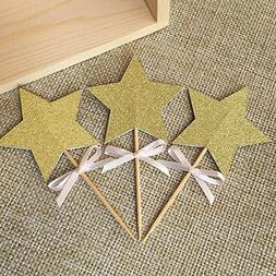 24pcs/lot, Glitter Gold Double-sided Star Toppers Picks,birt