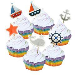 24pcs <font><b>Navy</b></font> Sailing Anchor <font><b>Cupca